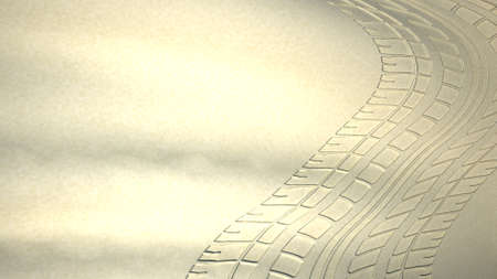 4wd: Tyre trackes in the sand, 3D illustration