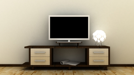Empty LED TV on television shelf in classic interior background with decorative paint wall and wooden floor. Copy space image. 3d render