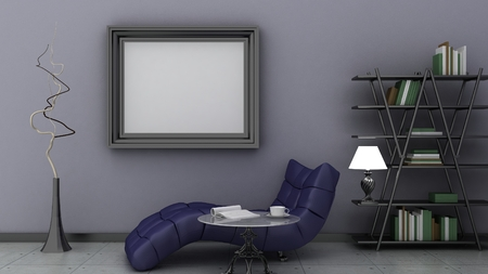 privat: Empty picture frames in classic interior background on the decorative painted wall with wooden floor. Privat library with chair and floor lamp. Copy space image. 3d render Stock Photo