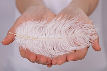 Woman holding a white feather close up. Tenderness concept