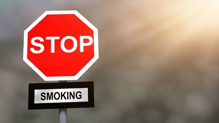 quit: Stop, quit smoking sign. Prevention and cure smoking (nicotine) addiction problem concept.