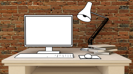 Place for computer monitor on table in modern classic interior background with decorative paint wall and wooden floor. Copy space image. 3d render