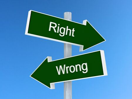 Right vs wrong sign. Right or wrong choice concept Stock Photo