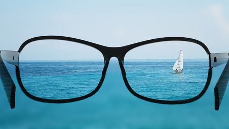 ojos negros: Put the glasses for the different, better view. Looking at the boat in the sea, ocean.