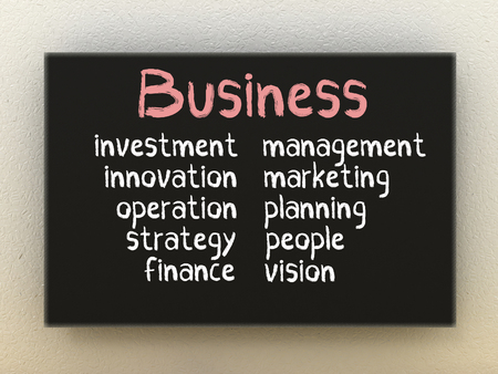 Business on black board. Business concept. Stock Photo