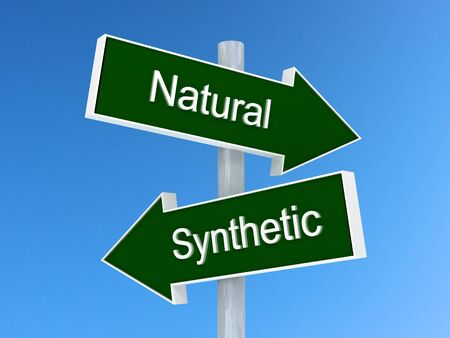 Natural vs synthetic sign. Natural or synthetic choice concept