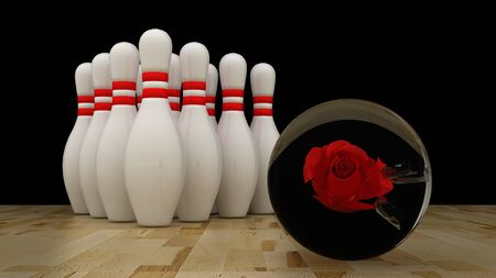 rolling pin: Bowling ball with pins on wooden floor Stock Photo