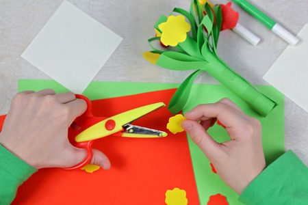 child cut out of colored paper kid making birthday card happy mothers day and - Color Paper For Kids