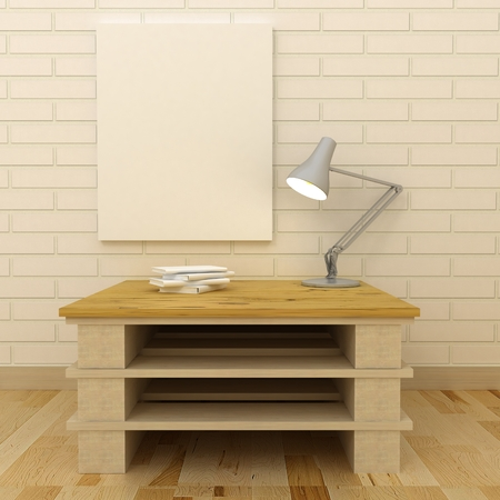 privat: Empty picture frames in classic interior background on the decorative painted wall with wooden floor. Privat library with table and lamp. Copy space image. 3d render