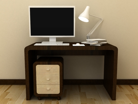 Empty PC computer monitor on table in modern classic interior background with decorative paint wall and wooden floor. Copy space image. 3d render Stock Photo