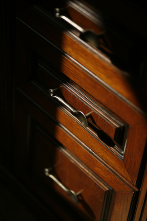 luxury interior design for classic wooden furniture detail Stock Photo