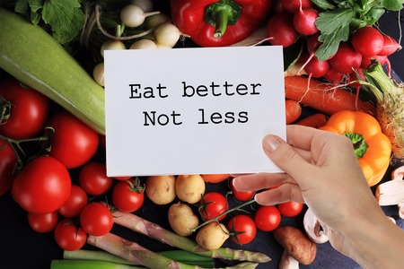 Motivation Inspirational quote Eat better Not less. Dieting, Healthy eating background.