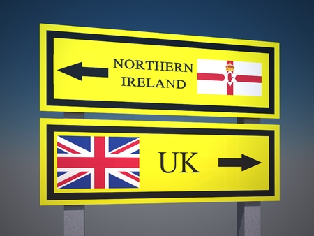 Wales referendum to leave the UK. United kingdom, Great britain referendum. Sign on the road. 3d render Stock Photo
