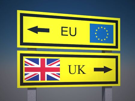 UKs decision to leave the European Union. United kingdom, Great britain referendum. Sign on the road. 3d render