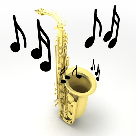 Saxophone with notes isolated on white background. Learn how to play sax concept. Stock Photo
