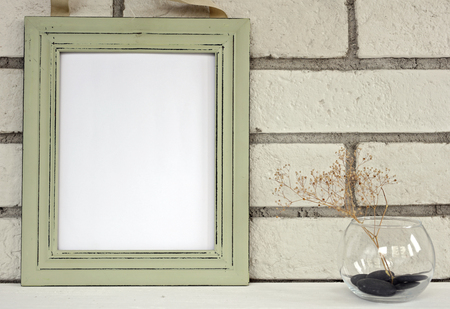 Empty Picture In Frame Shabby Chic, Vintage Style. Scandinavian ...