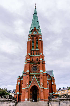 belief system: Protestant Church rising into the sky in Stockholm Sweden. Stock Photo
