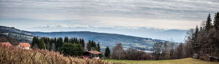 french countryside: Panoramic view of Swiss countryside and French countryside.