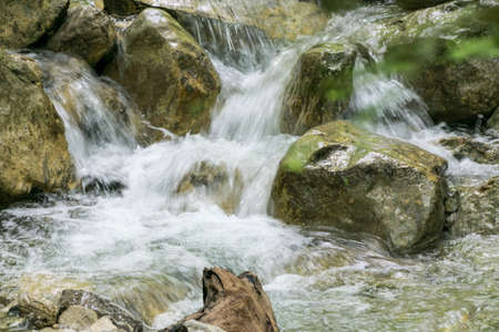 french countryside: Water fall in creek in French countryside forest. Stock Photo