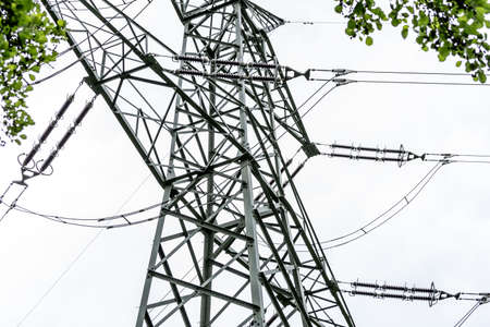 french countryside: Electric power transmission line in French countryside.