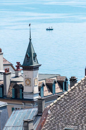leman: View over rooftops and Lac Leman, in Nyon, Switzerland. Stock Photo