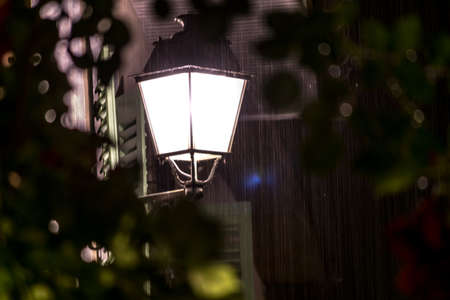 rainfall: Lamppost in during heavy rainfall.