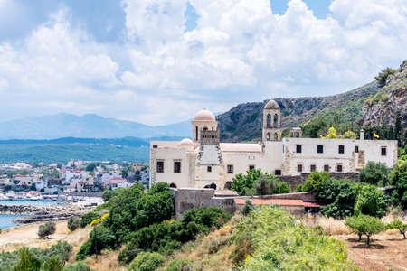 monastery nature: Catholic Monastery on mountain side in Crete, Greece.