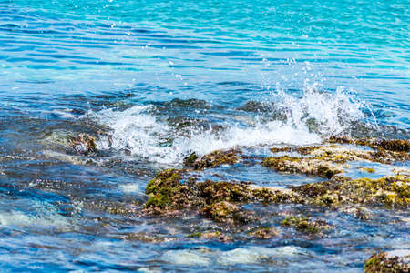 turmoil: Waves coming into the shore of the Mediterranean Sea at Crete, Greece. Stock Photo