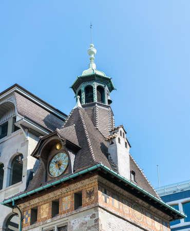 geneva: Church tower in Geneva, Switzerland. Stock Photo