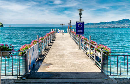 montreux: Bridge by the shore in Montreux, famous for its renowned jazz festival. Stock Photo