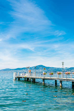 renowned: Bridge by the shore in Montreux, famous for its renowned jazz festival. Stock Photo