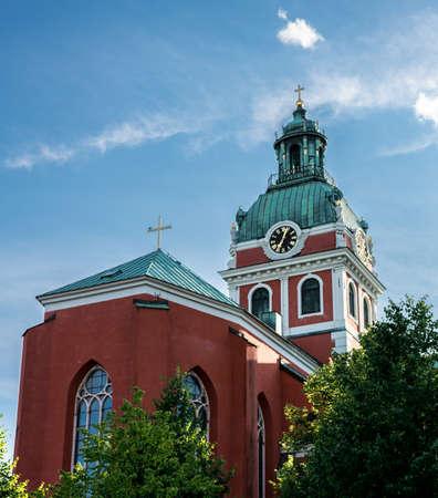 protestant: Protestant church tower in evening light. Stockholm, Sweden.