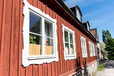 swedish: Side of Swedish house. Stock Photo