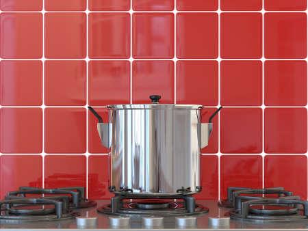 Kitchen background, pot on gas stove Stock Photo