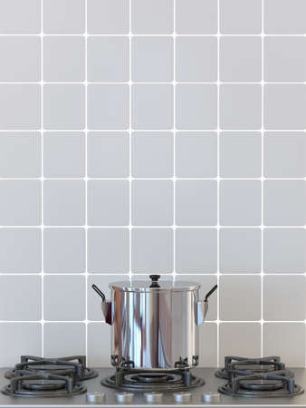 Kitchen pot on gas stove, cooking background