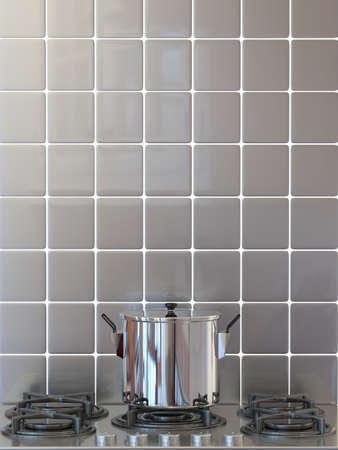Kitchen pot on gas stove Stock Photo