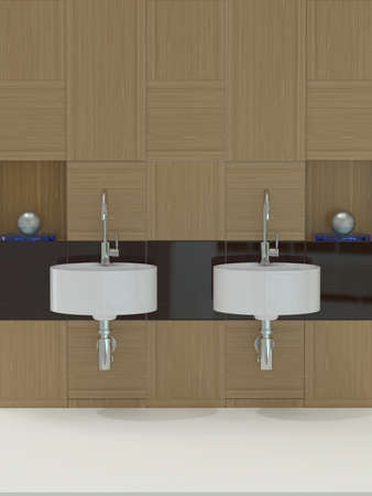 Modern bathroom, sink and faucet