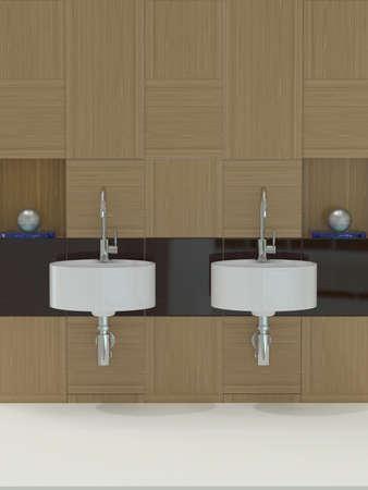 lavabo salle de bain: Salle de bains moderne, un �vier et le robinet Banque d'images