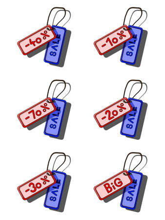 Set of blue and red sale tags
