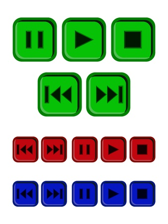 Play, stop, pause buttons set Stock Photo - 19337604