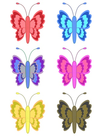 Set of cute butterflies from meadow in various colors Stock Photo - 19337607