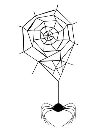 Black spider hanging under net  Black silhouette  Фото со стока