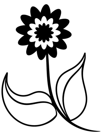 Black and white silhouette of beautiful flower