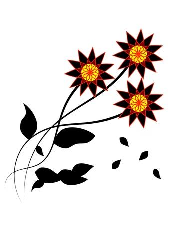 Three dark flowers with black falling leaves Stock Vector - 19507496