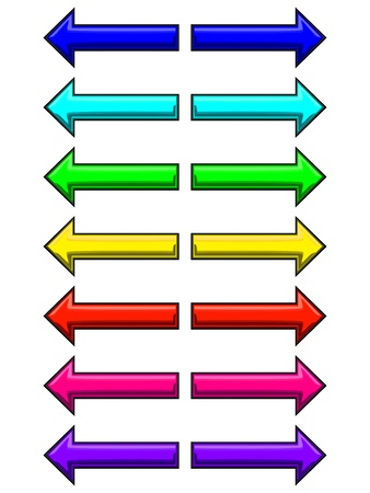 Set of seven different coloured arrows  Left and right arrows