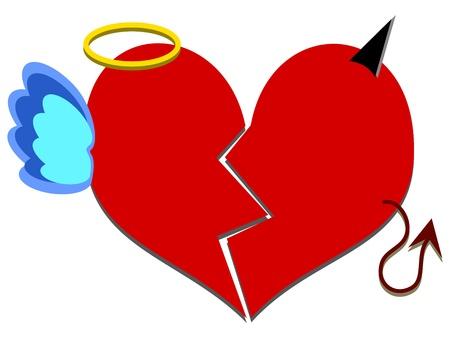 Devil or angel - broken red heart Stock Vector - 19704614