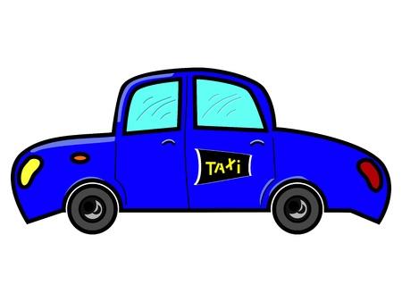 taxista: Taxi en color azul con signo de taxi