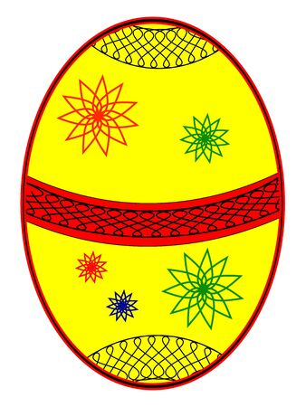 Yellow easter egg with coloured fine lace Illustration