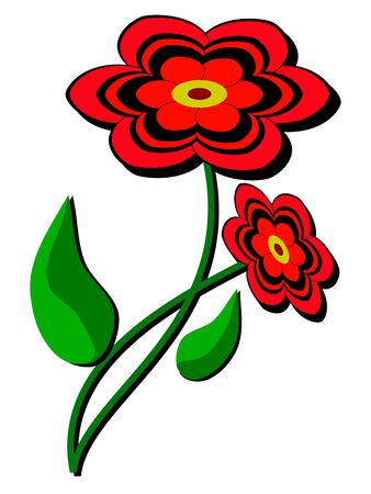 Meadow pretty flower in color  Green stem and red bloom Stock Vector - 19704645