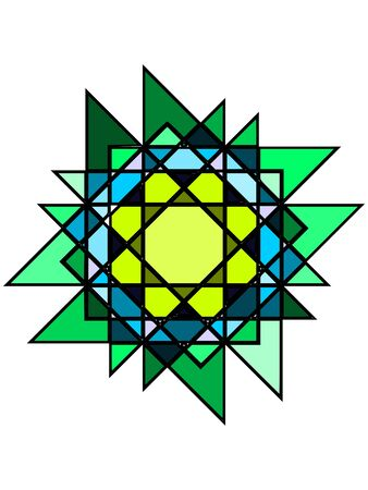 Mystic greenish stained glass  Beautiful window decoration Vector